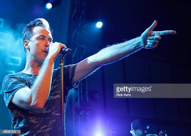 Musician Michael Fitzpatrick of Fitz and the Tantrums performs at the Samsung Pay Block Party in Austin on October 1 2015 in Austin Texas
