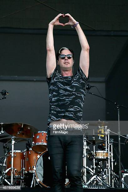 Musician Michael Fitzpatrick of Fitz and The Tantrums performs onstage during day 2 of the 2014 Life is Beautiful festival on October 25 2014 in Las...