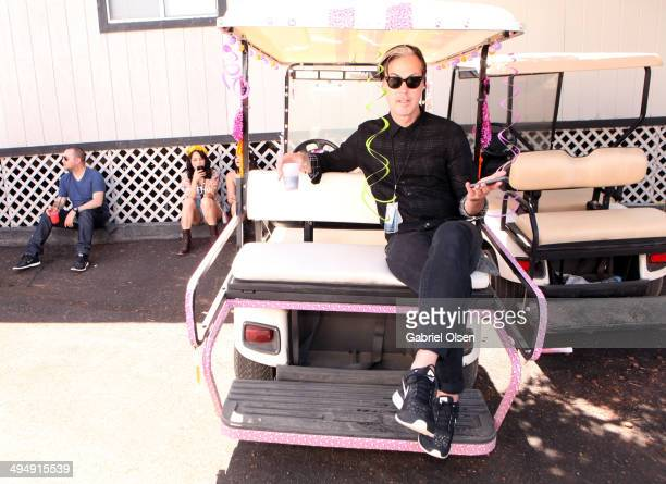 Musician Michael Fitzpatrick of Fitz and the Tantrums poses backstage during the 22nd Annual KROQ Weenie Roast at Verizon Wireless Music Center on...