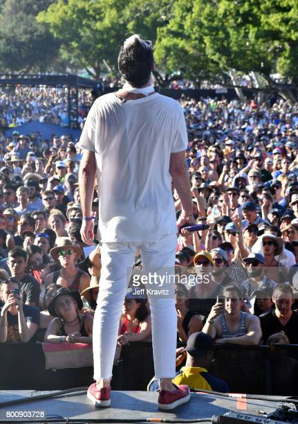 Musician Michael Fitzpatrick of musical group Fitz and The Tantrums performs on The Oak stage during Arroyo Seco Weekend at the Brookside Golf Course...