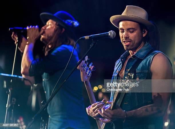 Musician Michael Hobby and Zach Brown perform onstage during A Thousand Horses presented by BMLG/Republic Nashville at The Sayers Club on March 30...