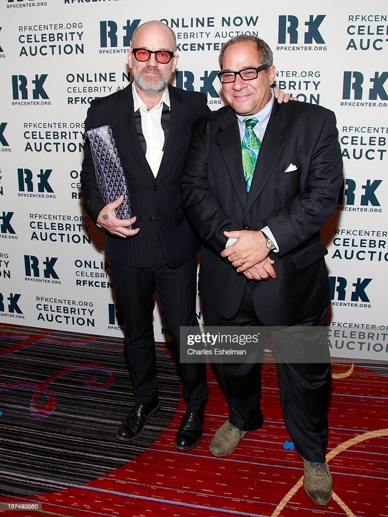 Musician Michael Stipe and guest attend the Robert F. Kennedy Center for Justice and Human Rights 2012 Ripple of Hope gala at The New York Marriott Marquis on December 3, 2012 in New York City.
