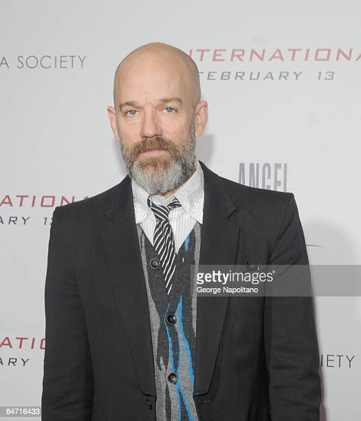 Musician Michael Stipe attends the Cinema Society and Angel by Thierry Mugler screening of 'The International' at AMC Lincoln Square on February 9...