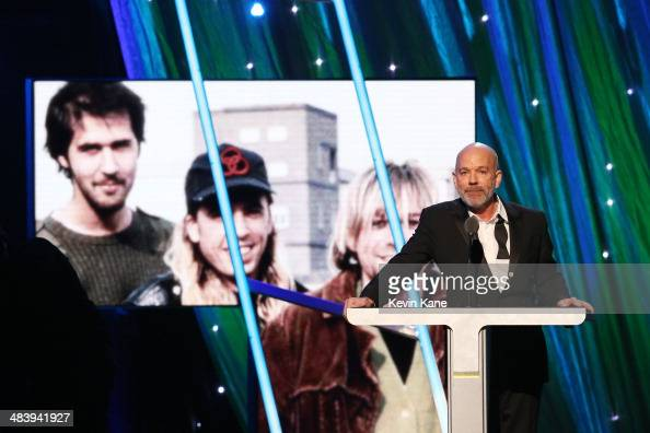 Musician Michael Stipe speaks onstage at the 29th Annual Rock And Roll Hall Of Fame Induction Ceremony at Barclays Center of Brooklyn on April 10...