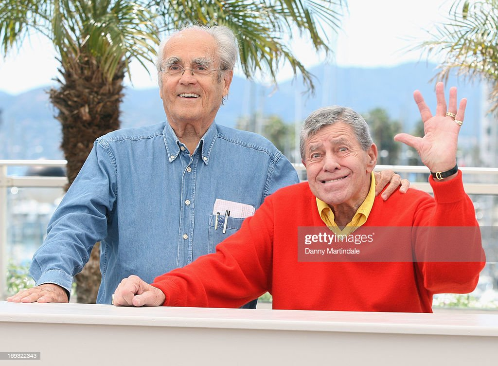 Musician Michel Legrand and actor <a gi-track='captionPersonalityLinkClicked' href=/galleries/search?phrase=Jerry+Lewis+-+Comedian&family=editorial&specificpeople=202947 ng-click='$event.stopPropagation()'>Jerry Lewis</a> attends the photocall for 'Max Rose' at The 66th Annual Cannes Film Festival at the Palais des Festivals on May 23, 2013 in Cannes, France.