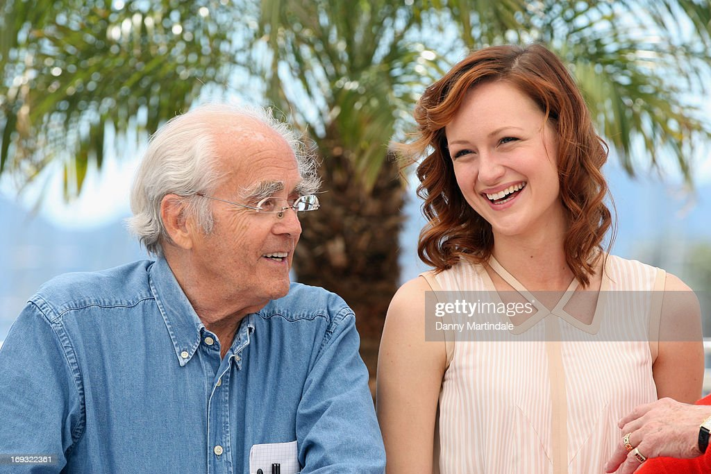Musician Michel Legrand and actress <a gi-track='captionPersonalityLinkClicked' href=/galleries/search?phrase=Kerry+Bishe&family=editorial&specificpeople=4584762 ng-click='$event.stopPropagation()'>Kerry Bishe</a> attends the photocall for 'Max Rose' at The 66th Annual Cannes Film Festival at the Palais des Festivals on May 23, 2013 in Cannes, France.
