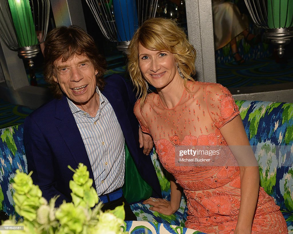Musician Mick Jagger (L) and actress Laura Dern attend HBO's Annual Primetime Emmy Awards Post Award Reception at The Plaza at the Pacific Design Center on September 22, 2013 in Los Angeles, California.