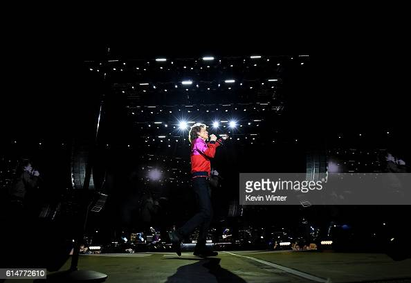 Musician Mick Jagger of The Rolling Stones of The Rolling Stones of The Rolling Stones performs onstage during Desert Trip at the Empire Polo Field...