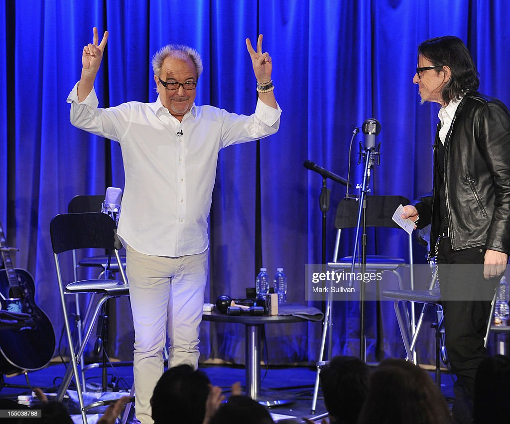 Musician Mick Jones and Vice President of the GRAMMY Foundation Scott Goldman onstage during Juke Box Heroes: An Evening With Foreigner at The GRAMMY Museum on October 30, 2012 in Los Angeles, California.