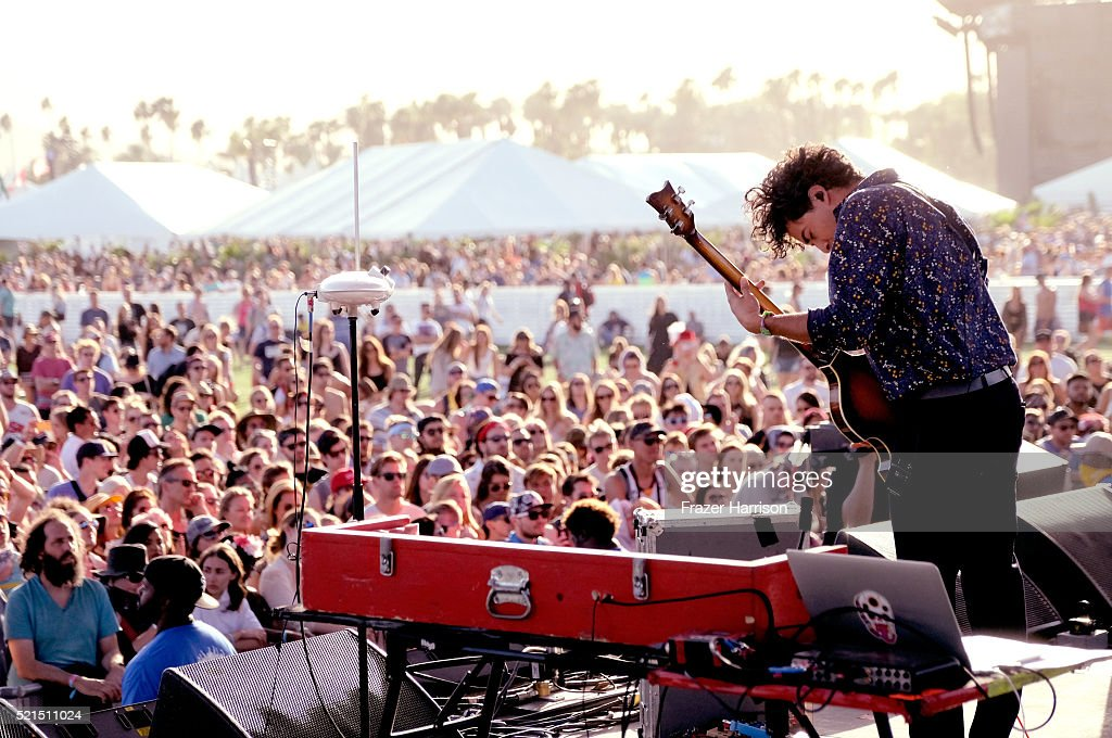 Musician Miguel Briseno of Lord Huron performs onstage during day 1 of the 2016 Coachella Valley Music Arts Festival Weekend 1 at the Empire Polo...