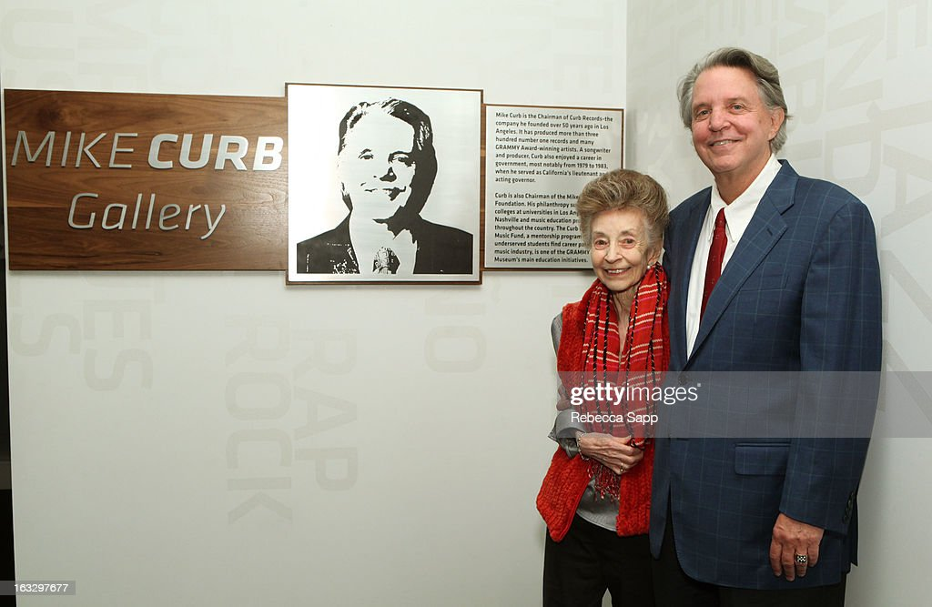 Musician Mike Curb (R) with mother Stella Curb (L) at the Mike Curb Gallery Opening at The GRAMMY Museum on March 7, 2013 in Los Angeles, California.