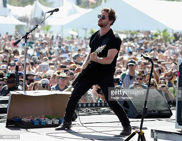 Musician Mike Kerr of Royal Blood performs onstage during day 2 of the 2015 Coachella Valley Music Arts Festival at the Empire Polo Club on April 11...