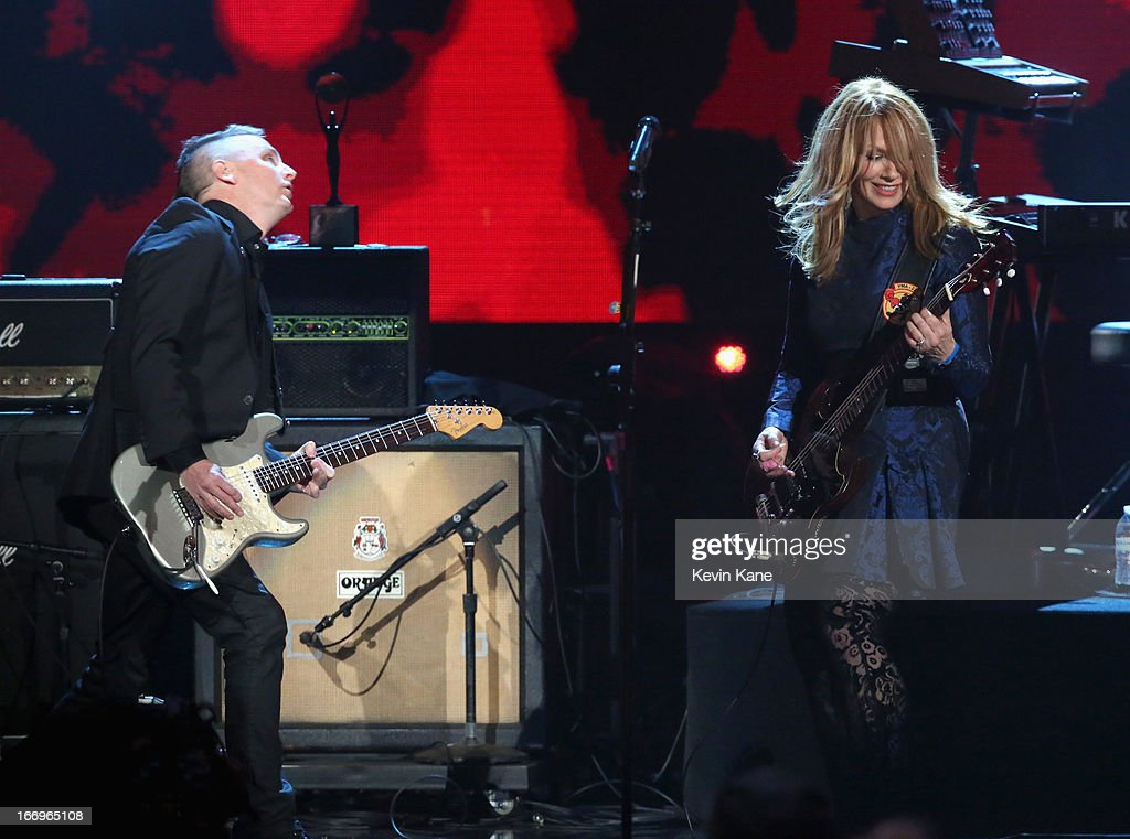 Musician Mike McCready of Pearl Jam and inductee Nancy Wilson of Heart perform onstage during the 28th Annual Rock and Roll Hall of Fame Induction...