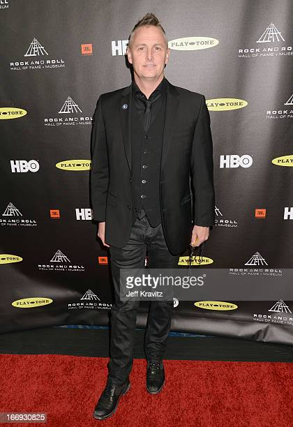 Musician Mike McCready of Pearl Jam arrives at the 28th Annual Rock and Roll Hall of Fame Induction Ceremony at Nokia Theatre LA Live on April 18...