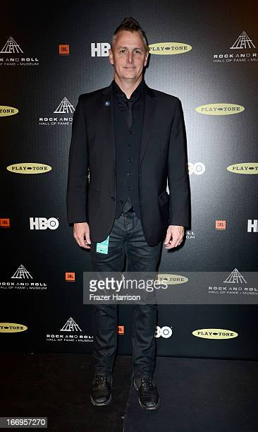 Musician Mike McCready of Pearl Jam poses in the press room at the 28th Annual Rock and Roll Hall of Fame Induction Ceremony at Nokia Theatre LA Live...