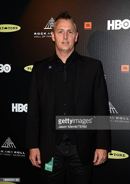 Musician Mike McCready poses in the press room at the 28th Annual Rock and Roll Hall of Fame Induction Ceremony at Nokia Theatre LA Live on April 18...