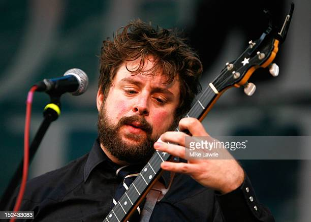 Musician Mike Savino of Tall Tall Trees performs with Kishi Bashi at SummerStage at Rumsey Playfield Central Park on September 20 2012 in New York...