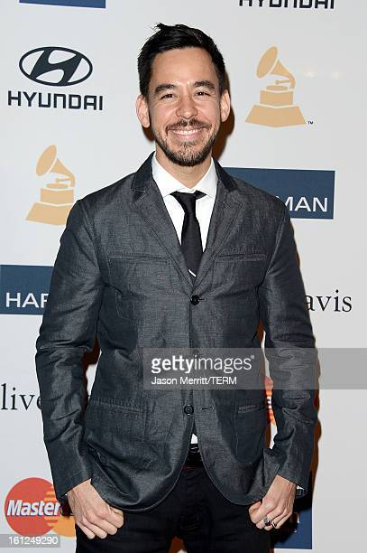 Musician Mike Shinoda arrives at Clive Davis The Recording Academy's 2013 PreGRAMMY Gala and Salute to Industry Icons honoring Antonio 'LA' Reid at...