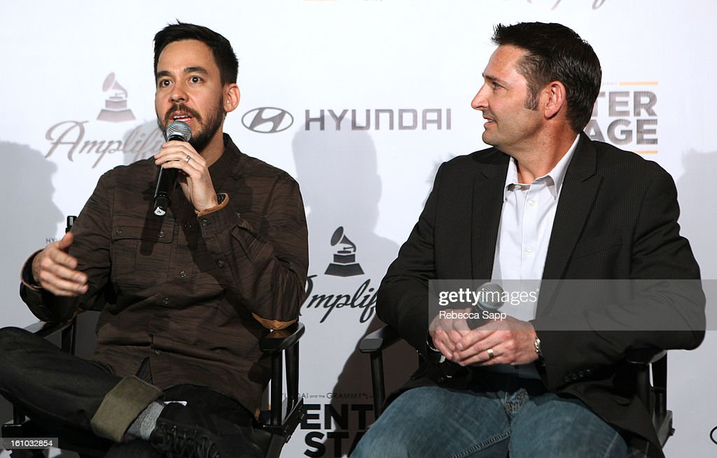 Musician Mike Shinoda of Linkin Park and Senior Group Manager of New Media for Hyundai Jon Budd during a special announcement by Linkin Park's Mike Shinoda at the Start Up Village/Social Media Summit at The Conga Room at LA Live on February 8, 2013 in Los Angeles, California.