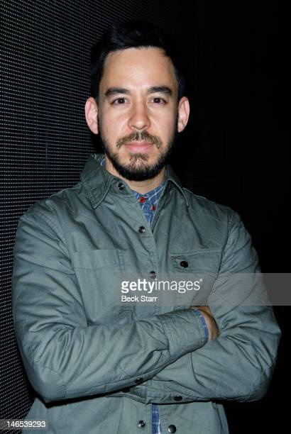 Musician Mike Shinoda of Linkin Park attends an evening of music and conversation about their new release 'Living Things' with radio host Jason...