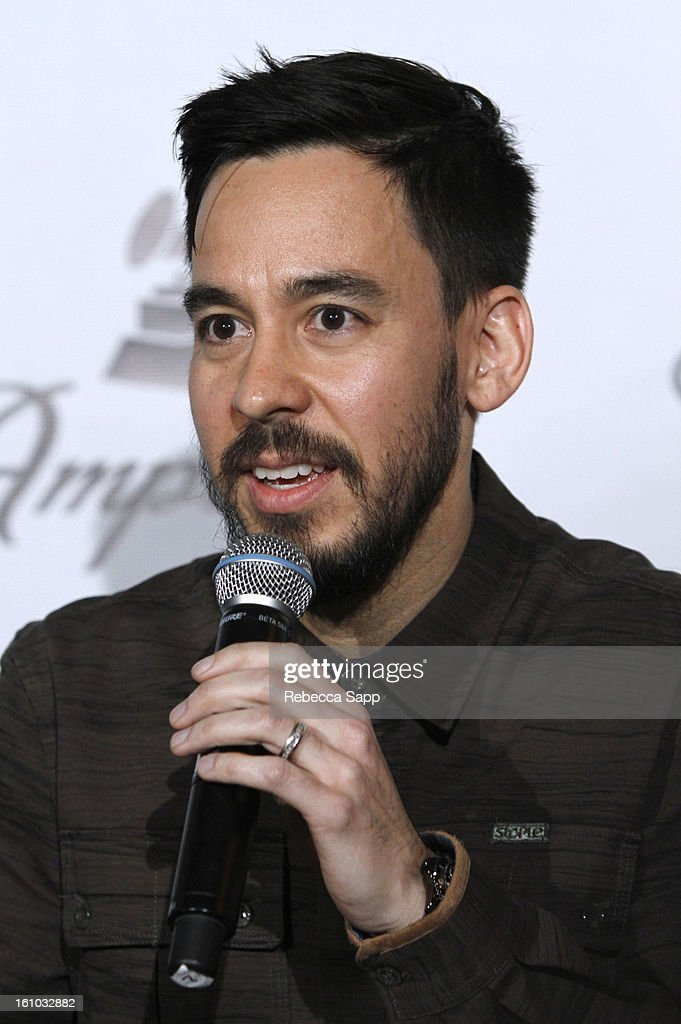 Musician Mike Shinoda of Linkin Park during a special announcement by Linkin Park's Mike Shinoda at the Start Up Village/Social Media Summit at The Conga Room at LA Live on February 8, 2013 in Los Angeles, California.