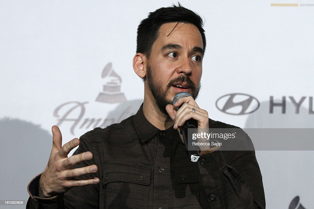 Musician <a gi-track='captionPersonalityLinkClicked' href=/galleries/search?phrase=Mike+Shinoda&family=editorial&specificpeople=657527 ng-click='$event.stopPropagation()'>Mike Shinoda</a> of Linkin Park during a special announcement by Linkin Park's <a gi-track='captionPersonalityLinkClicked' href=/galleries/search?phrase=Mike+Shinoda&family=editorial&specificpeople=657527 ng-click='$event.stopPropagation()'>Mike Shinoda</a> at the Start Up Village/Social Media Summit at The Conga Room at LA Live on February 8, 2013 in Los Angeles, California.