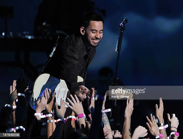 Musician Mike Shinoda of Linkin Park onstage during Spike TV's 10th annual Video Game Awards at Sony Studios on December 7 2012 in Culver City...