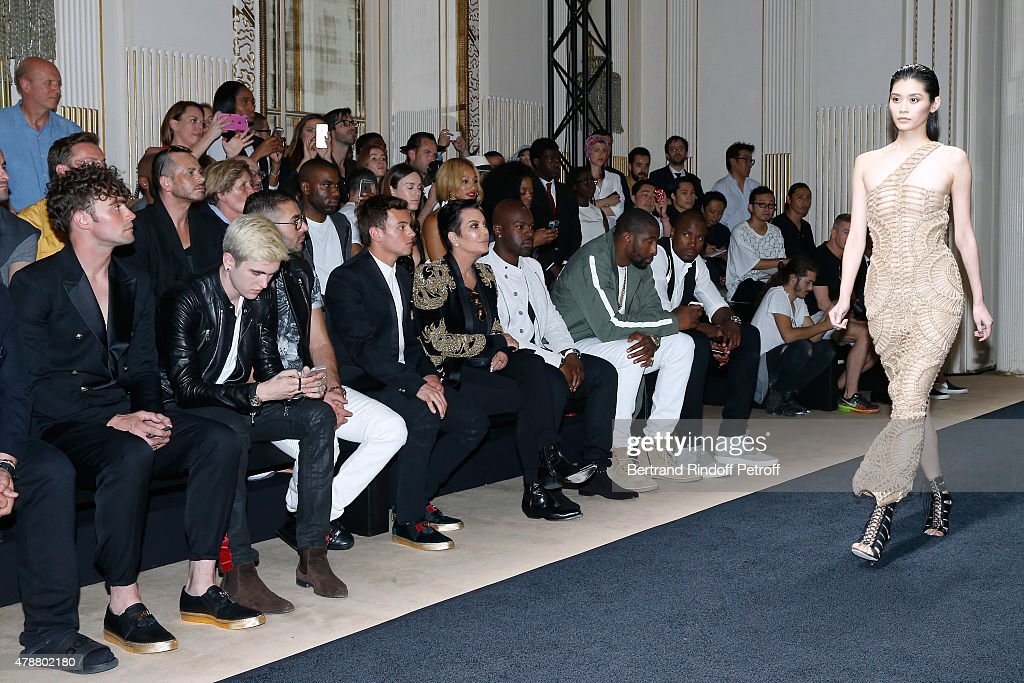 Musician Mikky Eko, Singer Gabriel-Kane Day-Lewis, Football Player Karim Benzema, Olympic Diver Tom Daley, Kris Jenner, her companion Corey Gamble, Basketball players, Amar'e Stoudemire and Serge Ibaka attend the Balmain Menswear Spring/Summer 2016 show as part of Paris Fashion Week on June 27, 2015 in Paris, France.