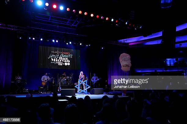 Musician Miley Cyrus performs onstage during Hilarity for Charity's annual variety show James Franco's Bar Mitzvah benefiting the Alzheimer's...