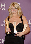 Musician Miranda Lambert winner of Song of the Year and Single Record of the Year for 'Over You' and Female Vocalist of the Year poses in the press...
