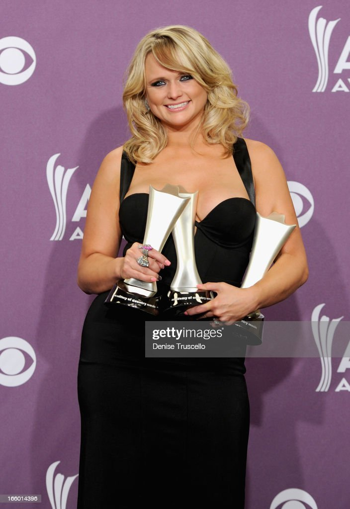 Musician <a gi-track='captionPersonalityLinkClicked' href=/galleries/search?phrase=Miranda+Lambert&family=editorial&specificpeople=571972 ng-click='$event.stopPropagation()'>Miranda Lambert</a>, winner of Song of the Year and Single Record of the Year for 'Over You' and Female Vocalist of the Year, poses in the press room during the 48th Annual Academy of Country Music Awards at the MGM Grand Garden Arena on April 7, 2013 in Las Vegas, Nevada.