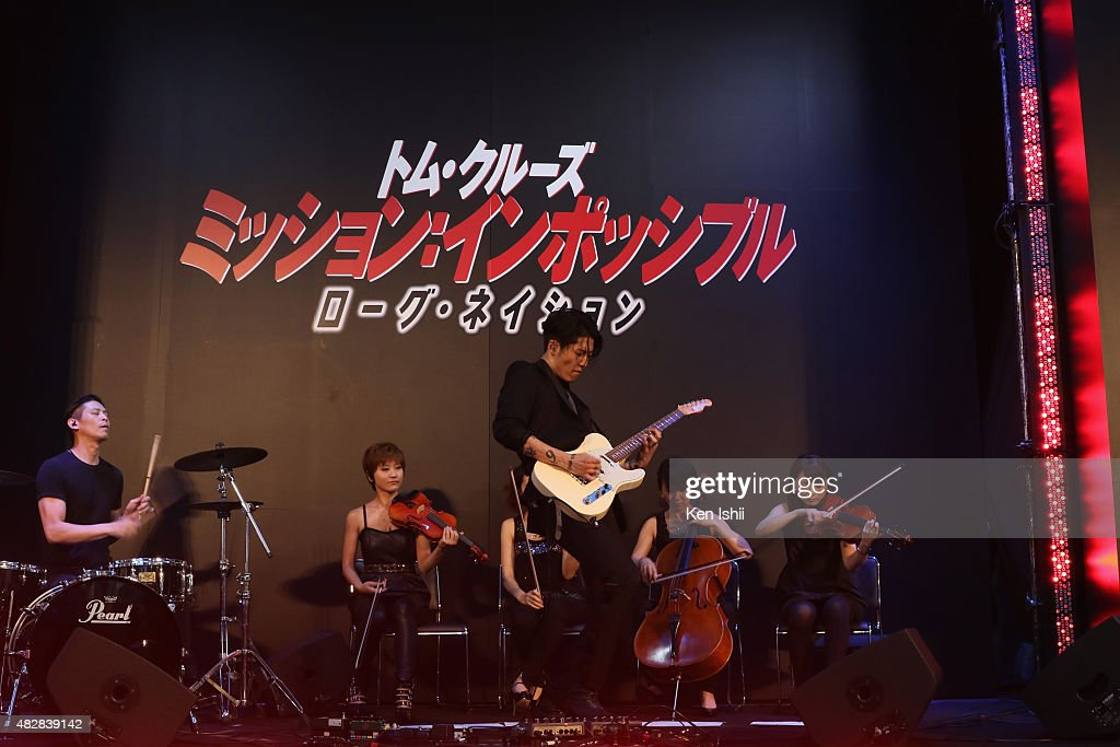 Musician MIYAVI performs during the Japan Premiere of 'Mission: Impossible - Rogue Nation' at the Toho Cinemas Shinjyuku on August 3, 2015 in Tokyo, Japan.