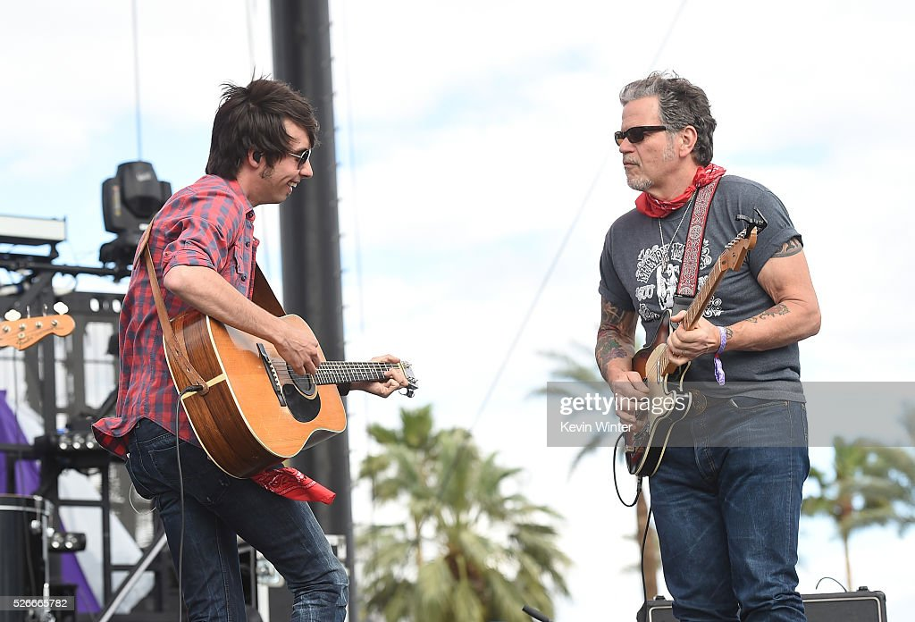Musician Mo Pitney (L) performs onstage during 2016 Stagecoach California's Country Music Festival at Empire Polo Club on April 30, 2016 in Indio, California.
