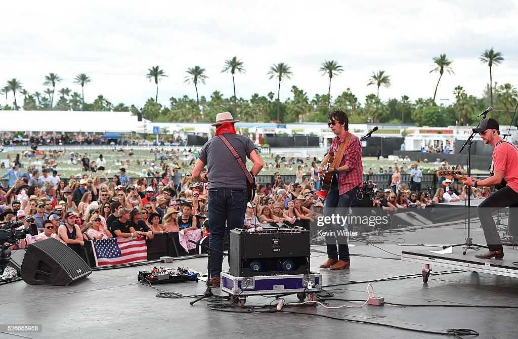 Musician Mo Pitney (R) performs onstage during 2016 Stagecoach California's Country Music Festival at Empire Polo Club on April 30, 2016 in Indio, California.