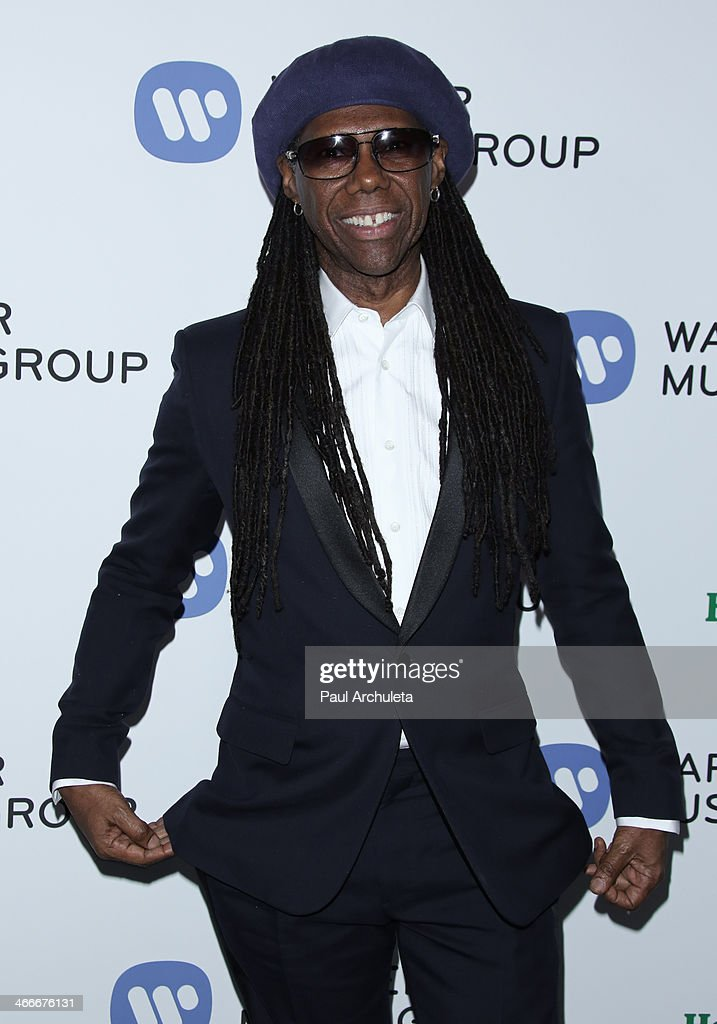 Musician / Music Producer <a gi-track='captionPersonalityLinkClicked' href=/galleries/search?phrase=Nile+Rodgers&family=editorial&specificpeople=217582 ng-click='$event.stopPropagation()'>Nile Rodgers</a> attends the Warner Music Group annual Grammy celebration at the Sunset Tower on January 26, 2014 in West Hollywood, California.