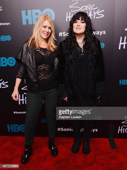 Musician Nancy Wilson and singer/musician Ann Wilson of Heart attends The 'Foo Fighters Sonic Highways' New York Premiere at Ed Sullivan Theater on...