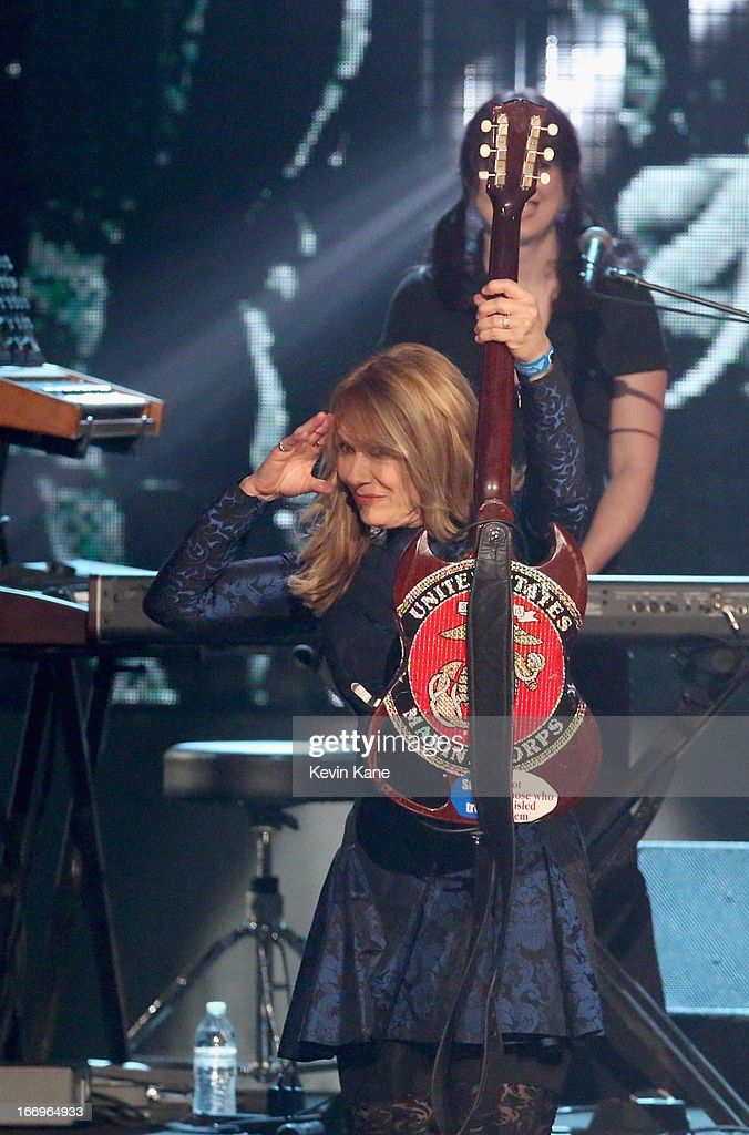 Musician Nancy Wilson of Heart onstage during the 28th Annual Rock and Roll Hall of Fame Induction Ceremony at Nokia Theatre LA Live on April 18 2013...