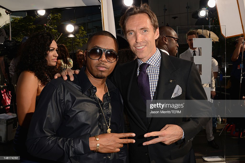 Musician <a gi-track='captionPersonalityLinkClicked' href=/galleries/search?phrase=Nas&family=editorial&specificpeople=204627 ng-click='$event.stopPropagation()'>Nas</a> and Los Angeles Lakers <a gi-track='captionPersonalityLinkClicked' href=/galleries/search?phrase=Steve+<a gi-track='captionPersonalityLinkClicked' href=/galleries/search?phrase=Nas&family=editorial&specificpeople=204627 ng-click='$event.stopPropagation()'>Nas</a>h+-+Basketball+Player&family=editorial&specificpeople=201513 ng-click='$event.stopPropagation()'>Steve <a gi-track='captionPersonalityLinkClicked' href=/galleries/search?phrase=Nas&family=editorial&specificpeople=204627 ng-click='$event.stopPropagation()'>Nas</a>h</a> arrives at the 2012 ESPY Awards at Nokia Theatre L.A. Live on July 11, 2012 in Los Angeles, California.