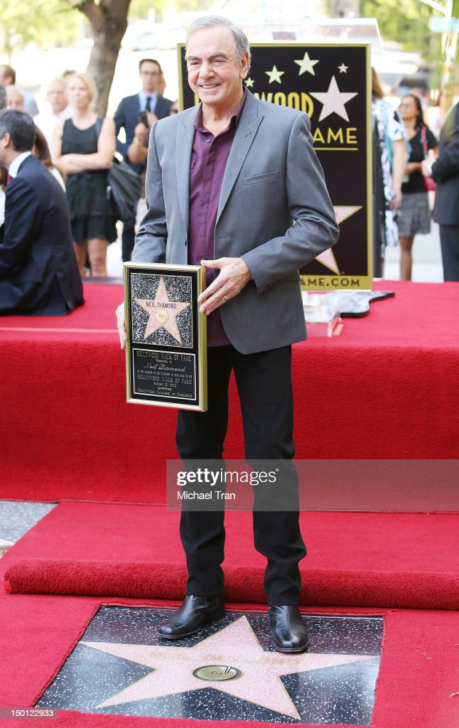 Musician Neil Diamond attends the ceremony honoring him with a Star on The Hollywood Walk of Fame held in front of the famed Capitol Records building on August 10, 2012 in Los Angeles, California.