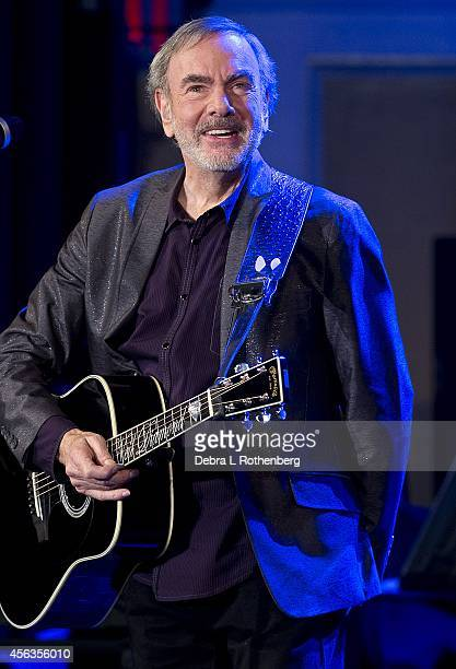 Musician Neil Diamond performs a special concert at Erasmus Hall High School where he attended school over 50 years ago on September 29 2014 in...