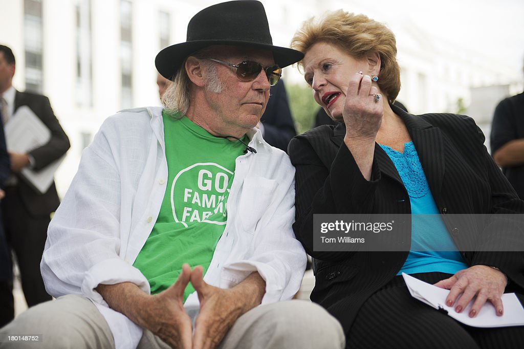 Musician Neil Young and Sen. Debbie Stabenow, D-Mich., attend a event outside of Russell Building to highlight the importance of the Renewable Fuel Standard and passing a farm bill. The event was hosted by the National Farmers Union and Young was on hand because of his interest in fuel efficiency. Young owns a fuel efficient LincVolt car.
