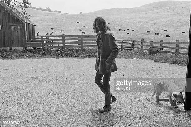 Musician Neil Young at his northern California ranch with his dog