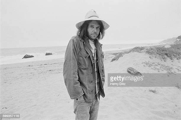 Musician Neil Young at the Beach