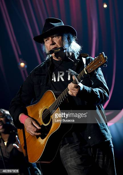 Musician Neil Young performs onstage at the 25th anniversary MusiCares 2015 Person Of The Year Gala honoring Bob Dylan at the Los Angeles Convention...