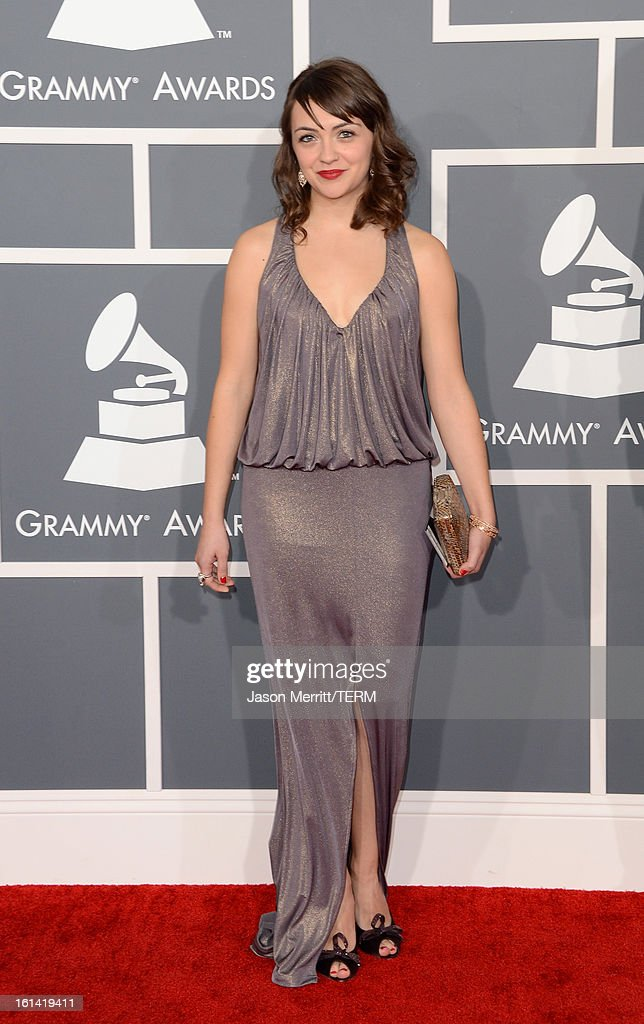 Musician Neyla Pekarek of The Lumineers arrives at the 55th Annual GRAMMY Awards at Staples Center on February 10, 2013 in Los Angeles, California.