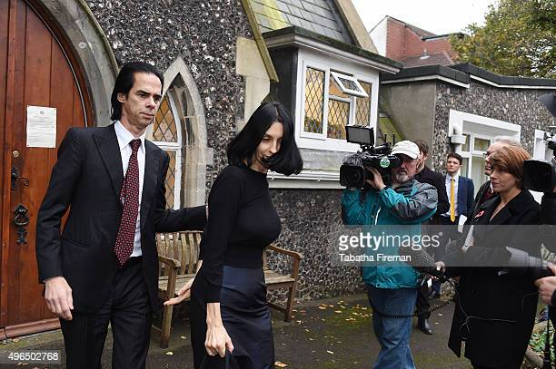 Musician Nick Cave and Susie Bick attends the inquest into his son's death at Brighton Coroner's Court on November 10 2015 in Brighton England Arthur...