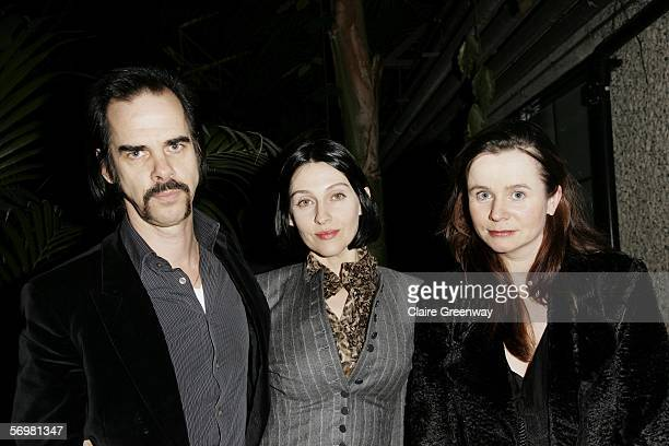 Musician Nick Cave his wife Susie Bick and actress Emily Watson attend the opening gala screening of 'The Proposition' as part of The London...