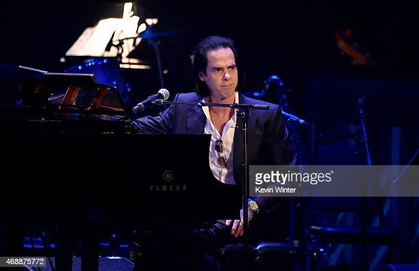 Musician Nick Cave performs onstage during The David Lynch Foundation's DLF Live Celebration of the 60th Anniversary of Allen Ginsberg's 'HOWL' with...