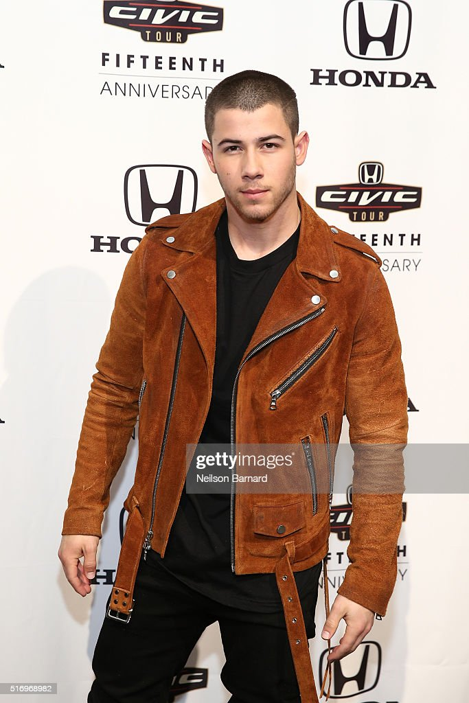Musician <a gi-track='captionPersonalityLinkClicked' href=/galleries/search?phrase=Nick+Jonas&family=editorial&specificpeople=842713 ng-click='$event.stopPropagation()'>Nick Jonas</a> attends the 2016 Honda Civic Tour Artists Announcement and Honda Civic North America Launch Event at the Garage on March 22, 2016 in New York City.