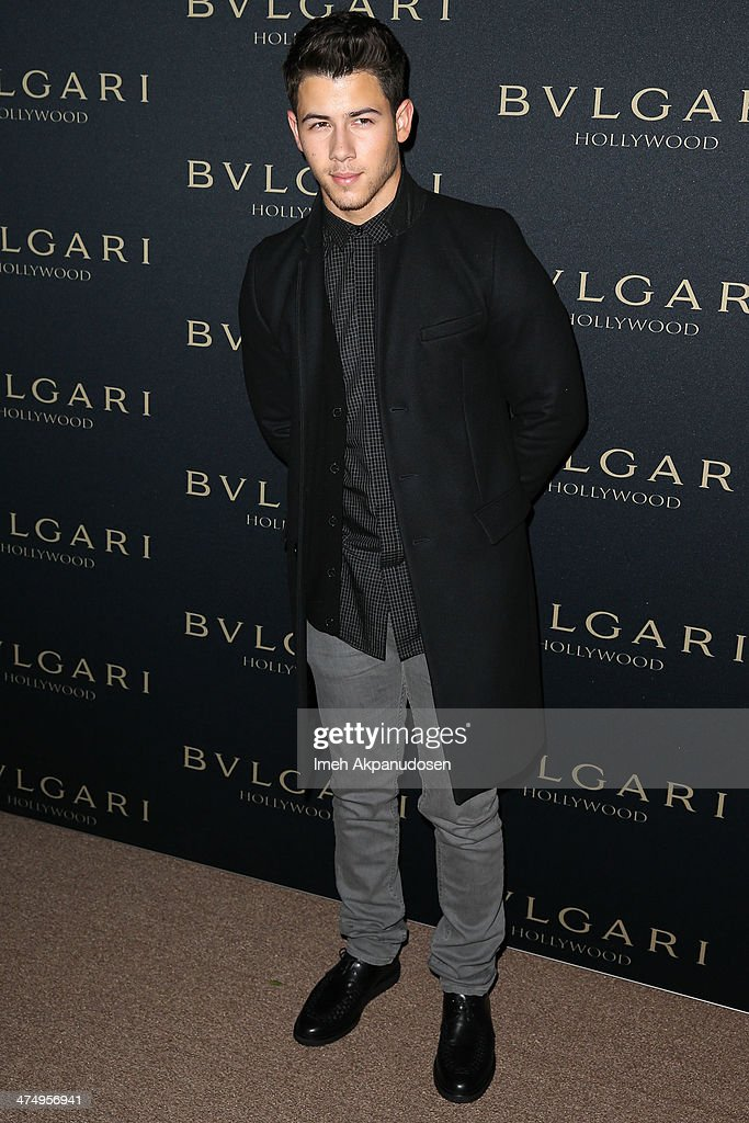 Musician Nick Jonas attends the BVLGARI 'Decades of Glamour' Oscar Party at Soho House on February 25, 2014 in West Hollywood, California.